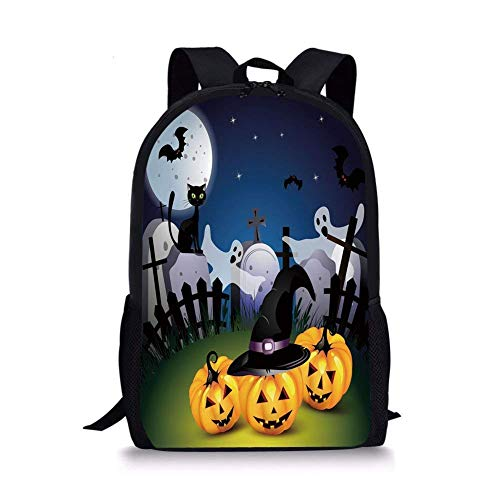 School Bags Halloween,Funny Cartoon Design with Pumpkins Witches Hat Ghosts Graveyard Full Moon Cat Decorative,Multicolor for Boys&Girls Mens Sport -