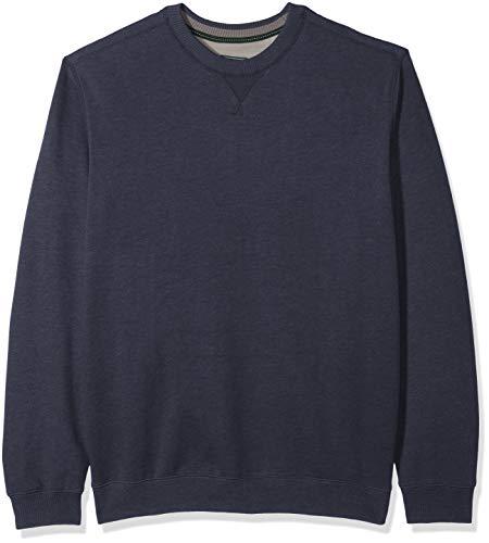 G.H. Bass & Co. Men's Big and Tall Mountain Fleece Crew Long Sleeve Sweatshirt, night sky heather, 3X-Large Tall (Night Sky Heather)