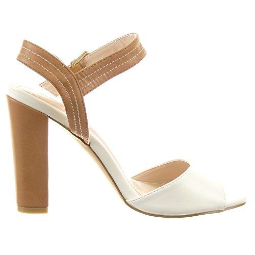 Sopily - damen Mode Schuhe Sandalen Pumpe Stiletto Fertig Steppnähte - Camel
