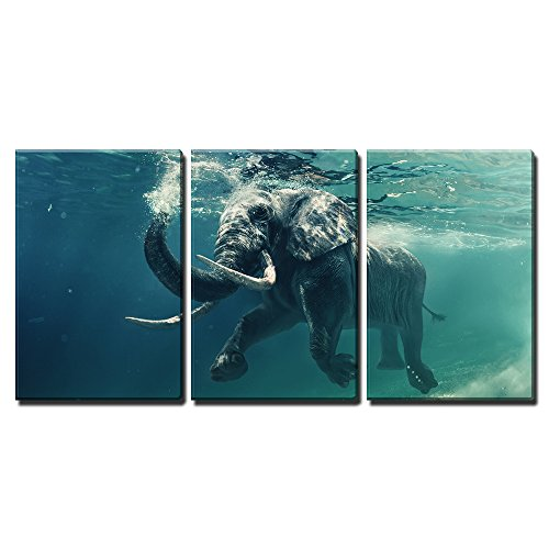 """Wall26 - 3 Piece Canvas Wall Art - Swimming Elephant Underwater. African Elephant in Ocean with Mirrors and Ripples - Modern Home Decor Stretched and Framed Ready to Hang - 16\""""x24\""""x3 Panels"""
