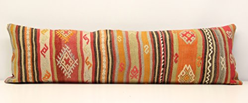Oriental Long kilim pillow cover 14x47 inch (35x120 cm) Bedding lumbar Kilim pillow cover Accent Pillow cover Kilim Cushion Cover Oblong pillow (Long Lumbar Pillow)
