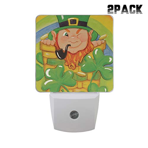 Shamrock Basket St Patrick's Day Leprechaun Rainbow Clover Night Light Led Plug-in with Auto Dusk to Dawn Sensor,Adjustable Brightness Warm White Lights for Hallway,Bedroom,Kitchen,Stairway,2 Pack