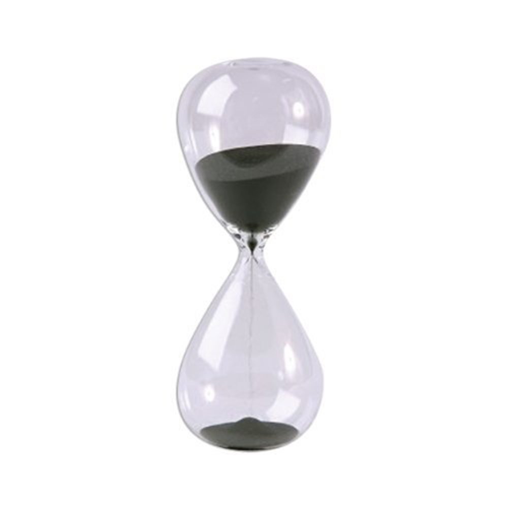 Large Fashion Black Sand Glass Sandglass Hourglass Timer Clear Smooth Glass Measures Home Desk Decor Xmas Birthday Gift (5 Minutes)