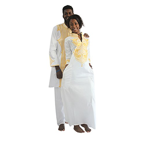 Dashiki African Couple Clothing for Mens & Womens, Traditional Bazin Fabric Maxi Wedding Dress & Shirts,F-White 3xl