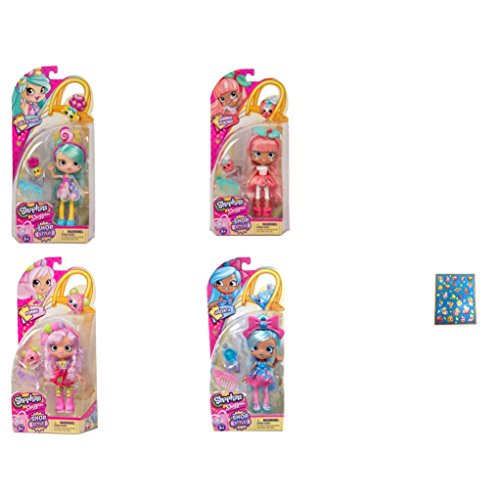 Shopkins Season 10 Shoppies Dolls Jascenta, Pommie, Lolita Pops and Summer Peaches Bundle with Bonus Sticker Sheet