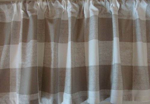 Check Decorator Fabric (Valance Ecru Tan Natural Large Buffalo Check Custom Made Window Treatment)