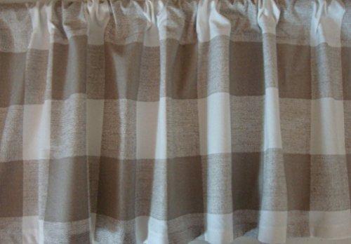 Cheap Valance Ecru Tan Natural Large Buffalo Check Custom Made Window Treatment