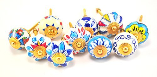 set of 10 blue & white floral ceramic cupboard cabinet knobs drawer pulls Small 1.5