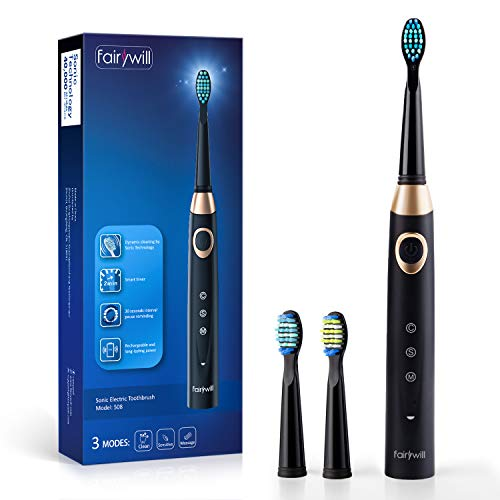 Sonic Electric Whitening Toothbrush Rechargeable for Adults and Teens, ADA Accepted, 4 Brush Heads for Cleaning Orthodontics and Braces, USB Charging for 30 Days Usage, in Black by Fairywill