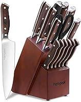 homgeek Professionellt köksknivset med blockträ, tysk 1,4116 rostfritt stål, inklusive pennvässare, sax, träklosse,...