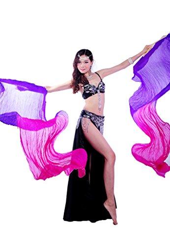 Folding Wings Costume (GUILTY BEAUTY Silk Folding Fans for Belly Dance,Gradient Colors,7123.6