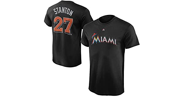 24aab4242 Amazon.com  Giancarlo Stanton Miami Marlins Black Cool Base Performance  Youth Name and Number T Shirt  Clothing