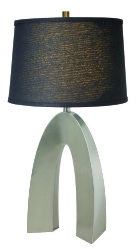 (Lite Source LS-21931PS/BLK Table Lamp, Polished Steel Metal Body with Black Elliptical Linen Fabric)