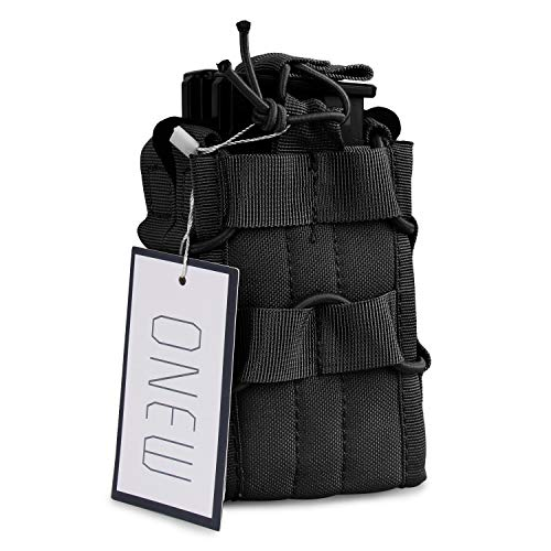 ONEW Tactical MOLLE Double Stacker Mag Pouch for M4 M14 M16 Magazines(Black) ()