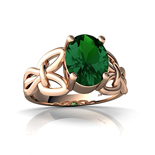 14kt Rose Gold Lab Emerald 9x7mm Oval Celtic Knot Ring - Size 8 ()
