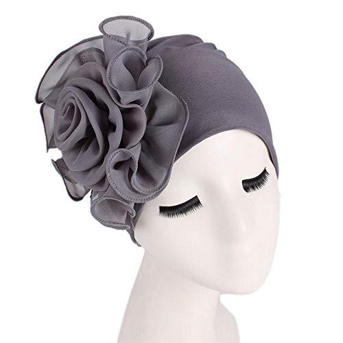- EnjoCho Women Gift, 1PC 2018 Newest Women Ladies Retro Big Flowers Hat Turban Brim Hat Cap Pile Cap (Gray)