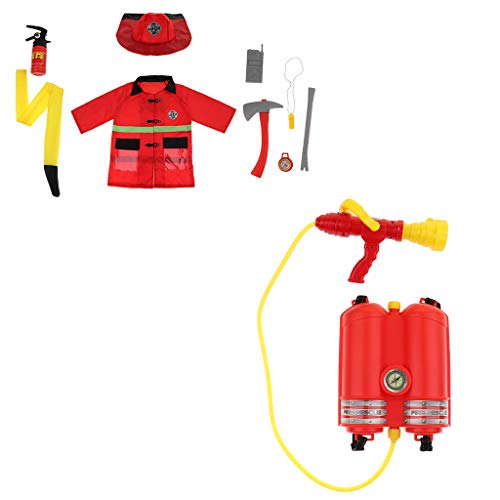 Fityle Set 10 Pieces Children Fire Chief Role Pretend Play Set - Outfit Hat & Fire Squirt Water Costume Halloween Kids Toy