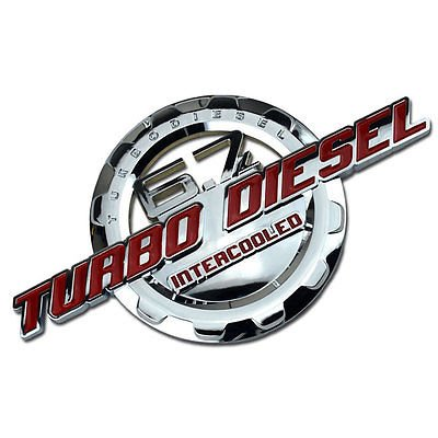 Red/Chrome 6.7 Turbo Diesel Motor Badge For Trunk Hood Door Tailgate Bed for Ford