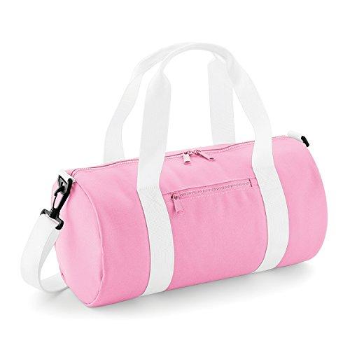 BagBase bolsa de lona el mini bolso del barril 12L 40x20x20cm Rojo clasico Off White Classic Pink/ White