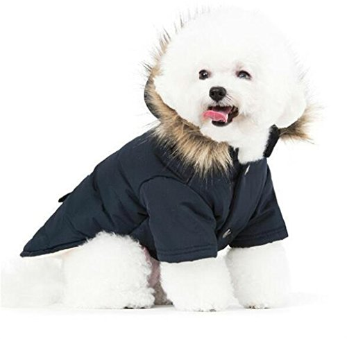 PetBoBo Cat Dog Doggie Down Jacket Hoodie Coat Pet Clothes Warm Clothing for Small Dogs Winter Black M