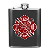 Firefighter Small Bath Mat 7 Oz Printed Stainless Steel Hip Flask for Drinking