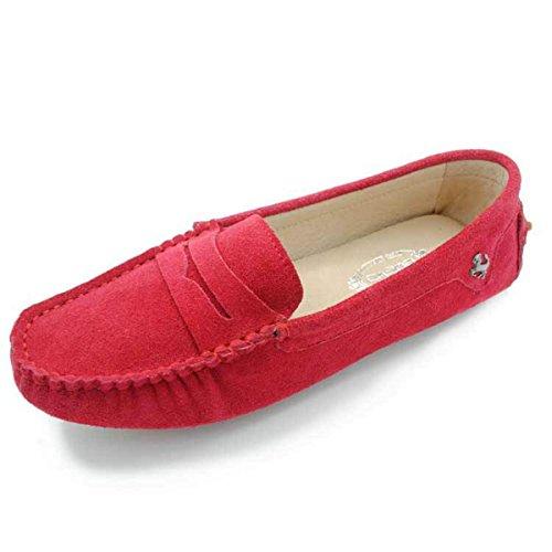 Goeao Dames Comfortabele Suede Leren Flats Rijdende Boog Mocassins Instappers Loafers Rood