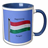 3dRose 777images Flags and Maps - The flag of Hungary waving on a blue background and Hungary written in both English and Hungarian - 11oz Two-Tone Blue Mug (mug_63162_6)