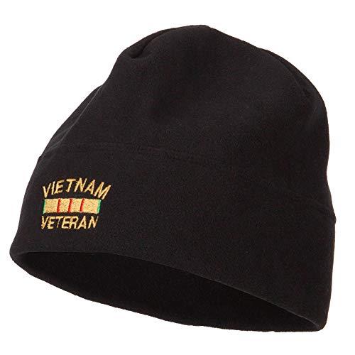 e4Hats.com Vietnam Veteran Embroidered Big Size Fleece Beanie - Black OSFM