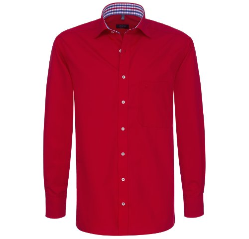 eterna Hemd comfort fit Uni Popeline rot mit Patch Gr. 40 - 54 / 1106.56.E147 / B41 (51)