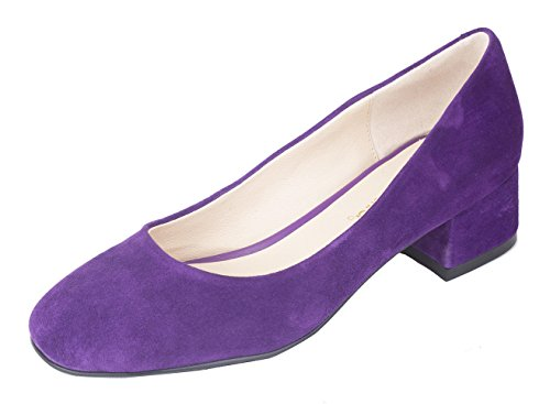 Dress Leather Purple queenfoot Style Low Square Elegant Heel Toe C Suede Pump Genuine Shoes Chunky Women's Comfort 8AqRwn87
