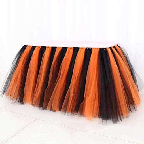(Halloween Christmas Tulle Table Skirt Party Decoration Diy Quality Detachable Long Tutu Skirt for Banquet)