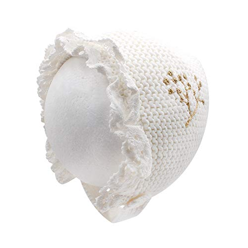 (Baby Girls Bonnet Infant Crochet,Lace,Knitting Embroidery Hat with Pure Cotton Lining Warm for Winter (0-4M,)