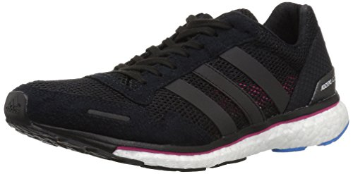 adidas Women's Adizero Adios 3 Running Shoe, Black/Real Magenta/Bright Blue, 9 M ()