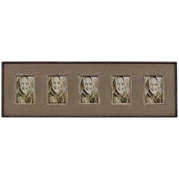 Marco para 5 fotos (10 x 15 cm) con madera de casetas de playa recicladas aspecto vintage en color marrón 92 x 29 cm: Amazon.es: Hogar