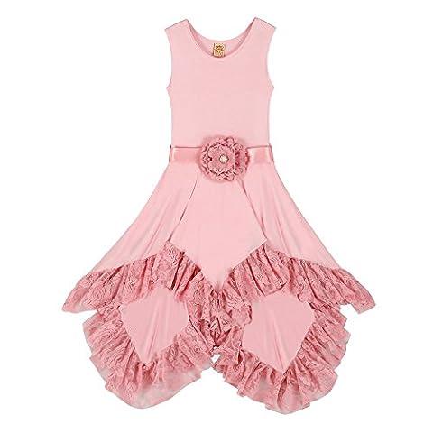 Girls Pink Sleeveless Twirl w/ Lace Ruffle Hem Princess Beach Wear Party Dress - Proudly Made in USA by Mia Belle Baby