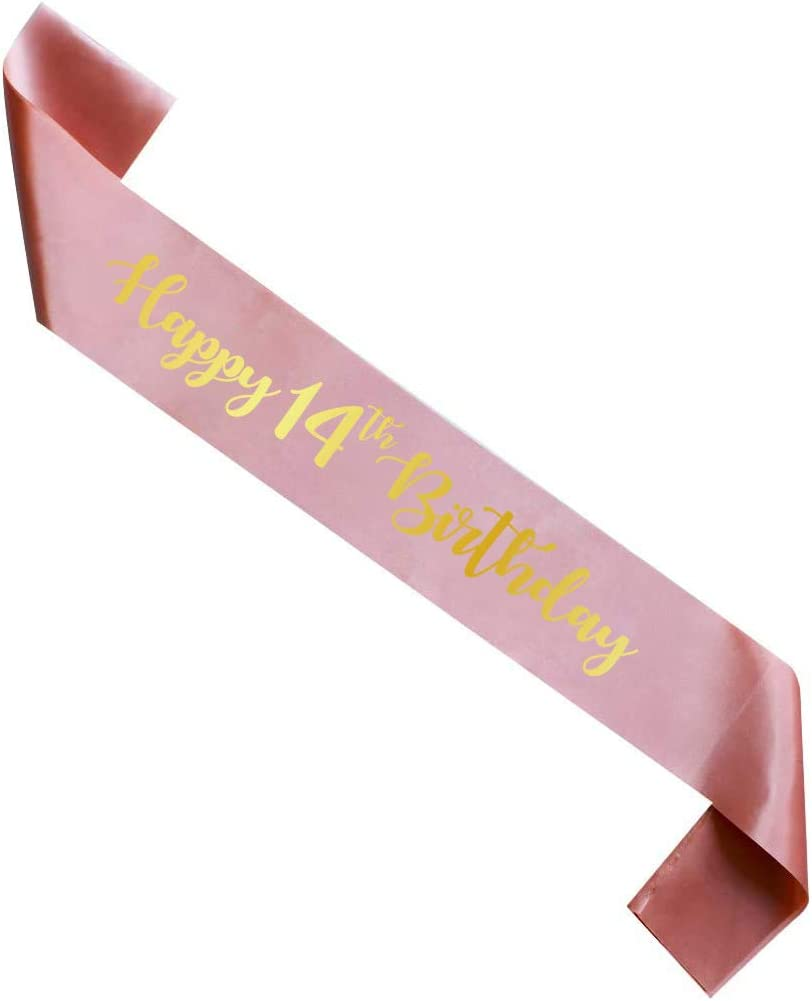 Rose Gold Happy 14th Birthday sash, Girl 14 Years Birthday Gift, Party Supply, Accessories