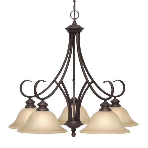 Golden Lighting 6005-D5 RBZ Lancaster Five Light Nook Chandelier, Rubbed Bronze Finish