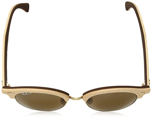 Ray-Ban - CLUBROUND WOOD RB 4246M, Rondes, ACETATE/BOIS, homme, BEIGE WOOD/CRYSTAL BROWN(1179/57), 51/19/145