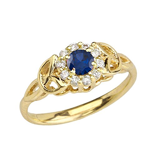Precious 14k Yellow Gold Diamond and Sapphire Engagement/Proposal Ring (Size 11.5)