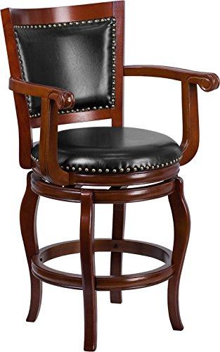 - Estella 26'' Panel Back Cherry Wood Counter Stool w/Black Leather Swivel