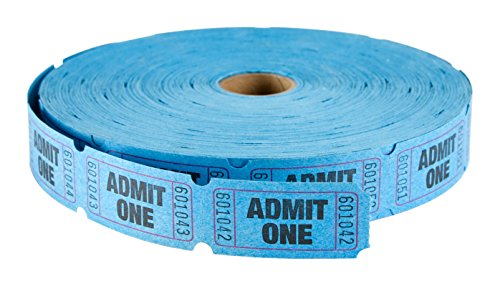 MACO Single Roll - Admit One - Tickets, 1 x 2 Inches, Blue, 2000 Per Roll (18-611)