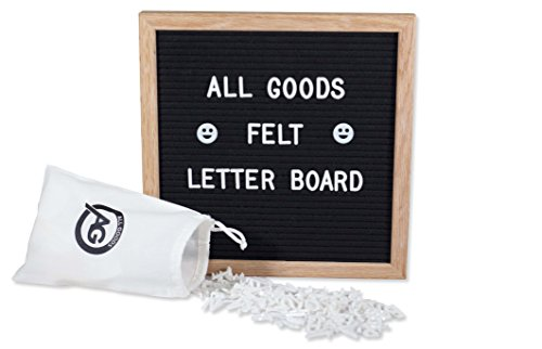 Felt Letter Board | 10x10 Inch Oak Frame & Black Felt | 346 White Changeable Letters, Emojis and BONUS Drawstring Canvas (Letter Sprue Set)