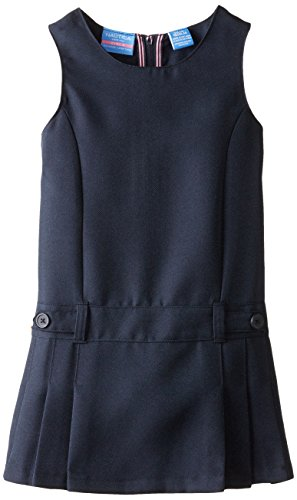 Nautica Little Girls' Uniform French Terry 2 Button Jumper, SU Navy, Large