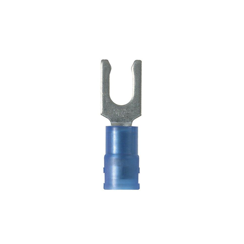 Panduit PN14-8LF-C Locking Fork Terminal, Nylon Insulated, 18-14 AWG, 8 Stud Size, Blue (100-Pack)