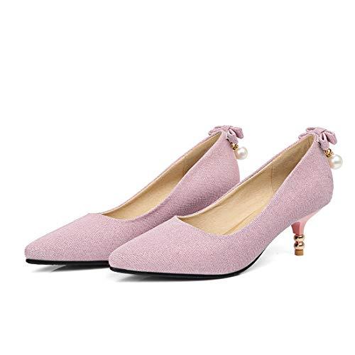 Chaton On Décolleté Glitter Agrafe Chaussures Pink Femme Vitalo Mariée Perles Talon Avec Slip Élégante xzE7n
