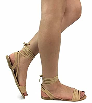 Spirit Moda Olivia-18 Over Toe Strap Sandals Wrap Around Womens Lace-Up Casual Roman Strappy, Natural, 6