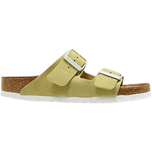 (Birkenstock Arizona Soft Footbed Vanilla Suede Sandals 38 (US Women's)