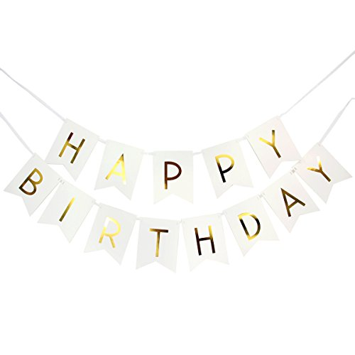 White Happy Birthday Banner / garland with gold foiled Letter for birthday party decoration, garland ( White & Gold)