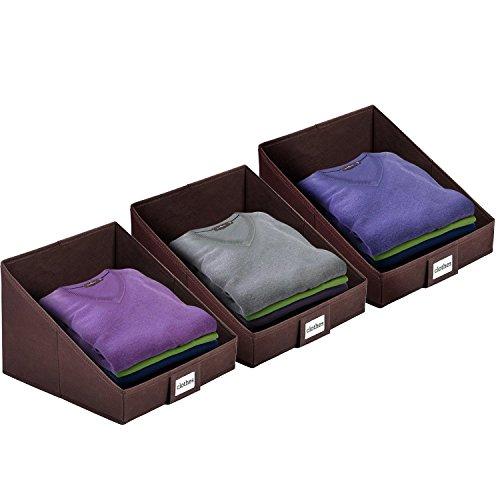 MaidMAX Closet Shelf Storage Bin Organizer with Label Holder, Sloped Cut, Foldable, Brown, Set of 3