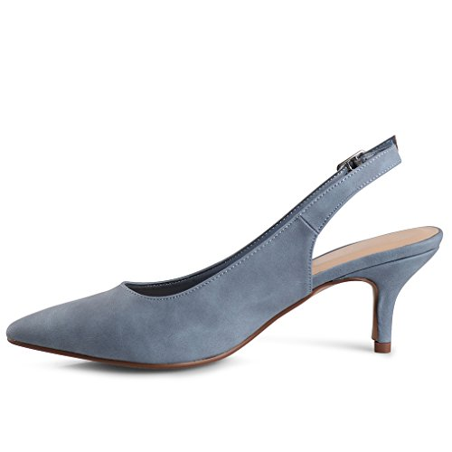 LUSTHAVE Women's Betty Kitten Heel Sling Back Closed Pointy Almond Medium Heel Pumps Shoes Blue 7.5 by LUSTHAVE (Image #4)